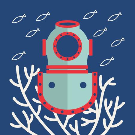 Vector flat marine icon of retro diving helmet. Nautical travel symbol