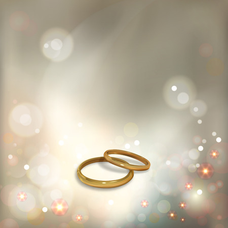 wedding ceremony: Vector gold wedding rings on on a luxury and sparkle bokeh background