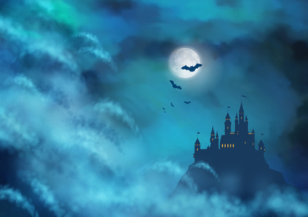 Halloween vector nightly background with castle silhouette on the hill