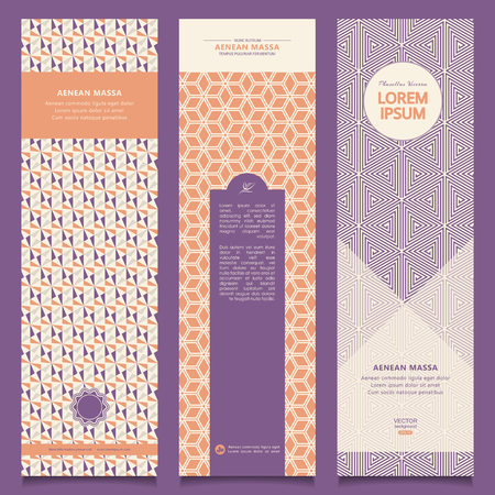 flower layout: Set of abstract banners with decorative ornament. Illustration