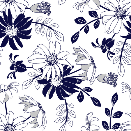 silhouette contour: Seamless pattern with blue flowers. Floral abstract decorative vector illustration.