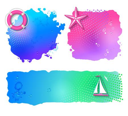 lifeline: Vector Marine watercolor banners