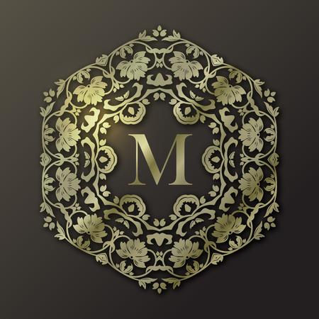 Vector gold frame. Monogram design in trendy 3d style with shadow. Calligraphic ornament