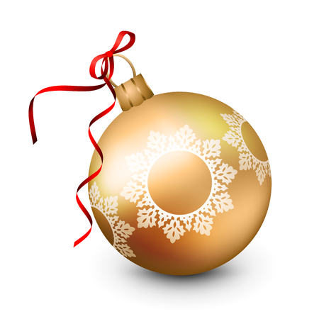 new: Vector Christmas ornament with a ribbon on a white background
