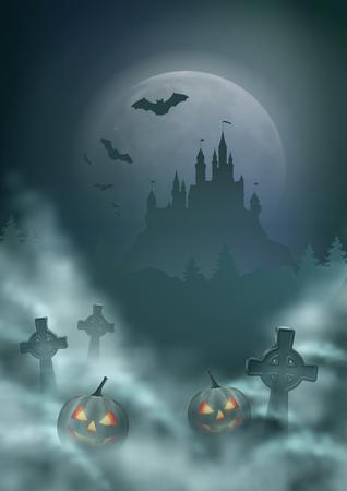 Halloween Night Scene Illustration