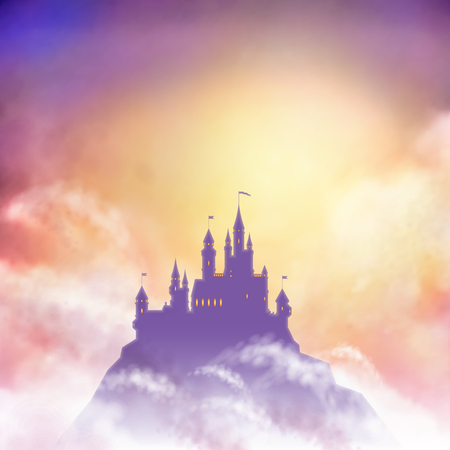 Una silueta del castillo del vector en la colina contra el fondo del sol naciente.