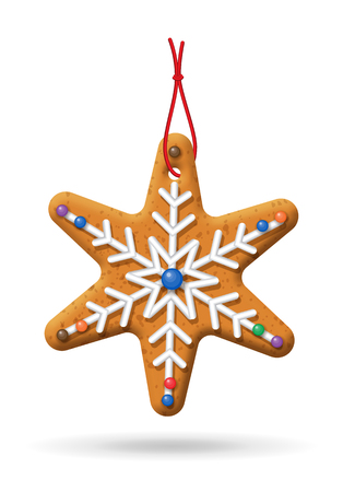 homemade bread: Gingerbread icon; Christmas snowflake cookies on a white background