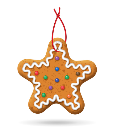 Gingerbread icon; Christmas star cookies on a white background Illustration