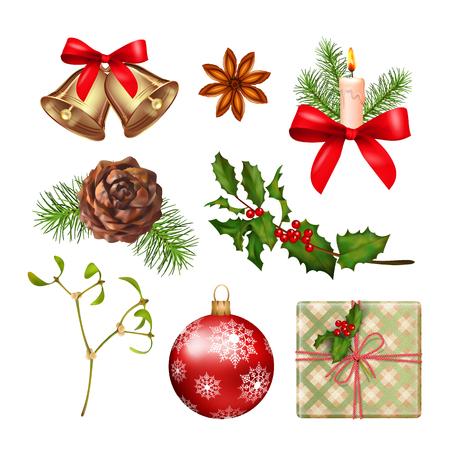 Ikony dekoracji związanych z Bożym Narodzeniem.