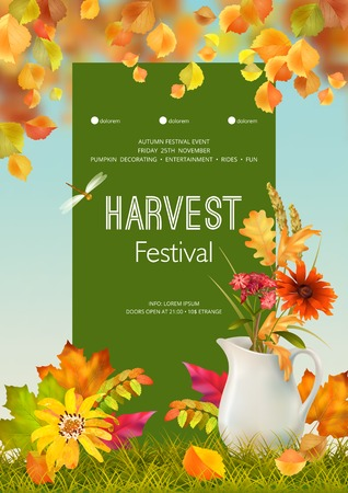 Thanksgiving invitation card. Autumn festival flyer or poster template. Usable for any kind of event, party, concert, festival