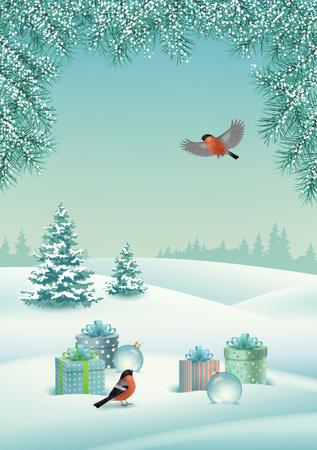 ベクトルクリスマスはギフト、雪に覆われた丘、冬の森、鳥の bullfinch と冬の風景