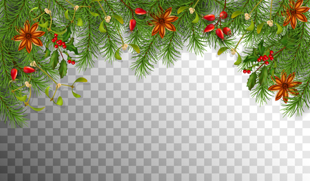 Christmas vector with spruce border