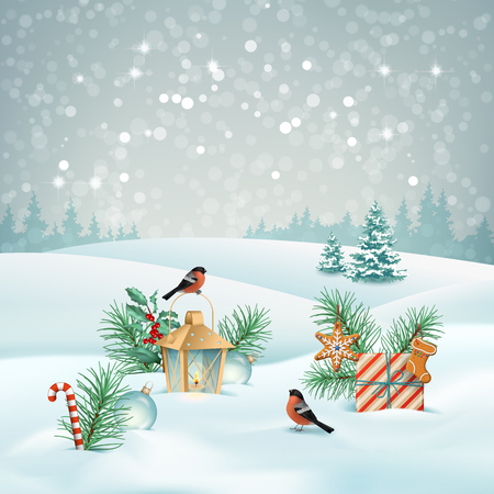 Christmas landscape illustration.