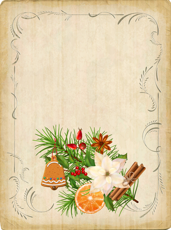 Vintage Christmas Card vector illustration.