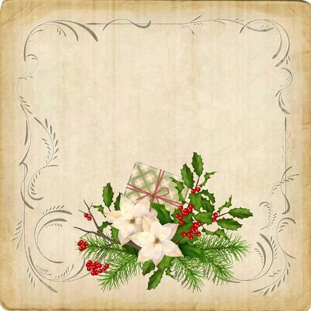 Scheda vettoriale vintage con composizione di vacanze di decorazioni natalizie e cornice bordo retrò Archivio Fotografico - 89995392