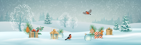 Vector Christmas winter landscape with gifts, snow covered hills, bird bullfinch
