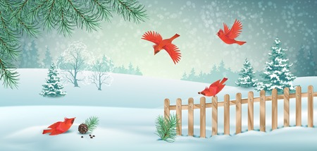 Vector winter landscape with fence, snow covered hills and red birds