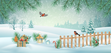 Vector Christmas winter landscape with gifts, fence, snow covered hills, bird bullfinch