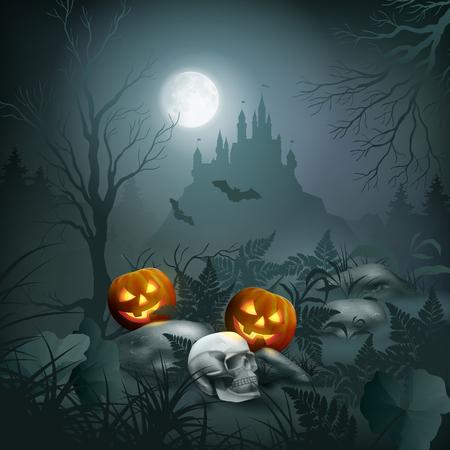 Halloween Night Scene vector illustration.