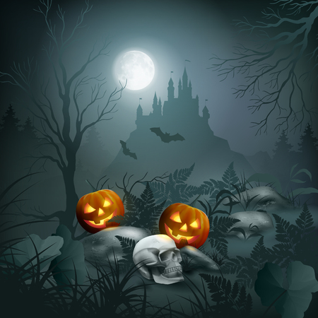 Halloween Night Scene vector illustration.