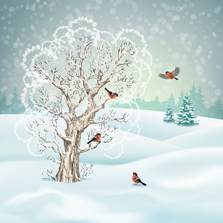 Vector Winter Landscape Stock Illustratie