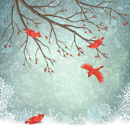 Vector illustration of winter landscape. Stock Illustratie