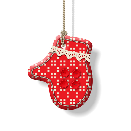 Christmas hanging textile handmade decorations, red mitten with shadow. Holiday vector ornament on a white background