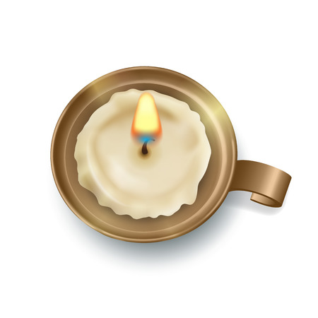 Top view on retro candlestick with burning candle. Vector illustration Reklamní fotografie - 91299233