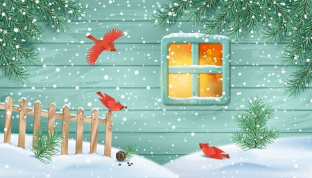 Winter Snowy Scene Vettoriali