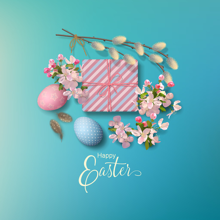 Easter holiday background with a gift, eggs, pussy willow branches, Apple blossoms, feathers. Vector top view illustration