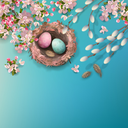 Easter holiday background with the nest, eggs, pussy willow branches, Apple blossoms, feathers. Vector top view illustration