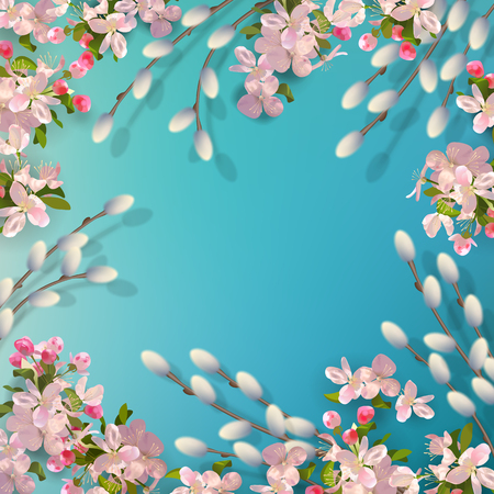 Spring vector background with pussy willow branches, Apple blossoms. Stock Illustratie
