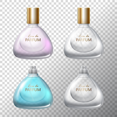 Set of luxury perfume in a glass transparent bottles. Vector illustration Illustration