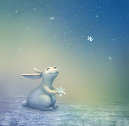 Christmas Scene with Bunny Stock Photo