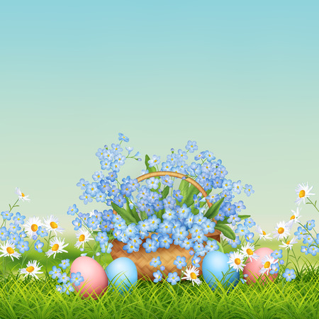 Vector holiday poster. Spring landscape with wicker basket, eggs and flowers in grass
