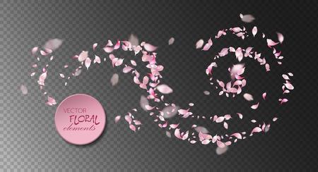 空飛ぶ桜の花びらのベクトル  イラスト・ベクター素材