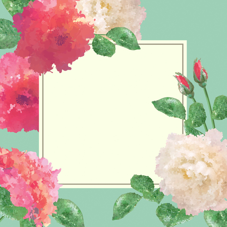 Vector flower card with white square for text on blue background.