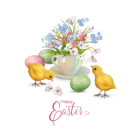 Happy Easter Card template with painted eggs, chicks and flowers. Vector illustration.