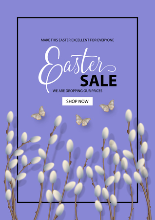 Happy Easter sale promo poster. Holiday background with pussy willow branches and butterfly. Vector top view illustration Illusztráció