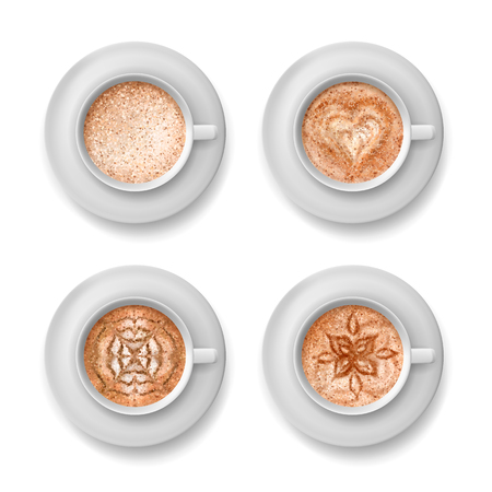 Vector coffee art. A cup of cappuccino with different patterns. Top view on a Cup of coffee Stock Illustratie