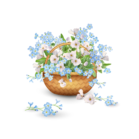 Basket with Flowers vector illustration isolated on plain background.