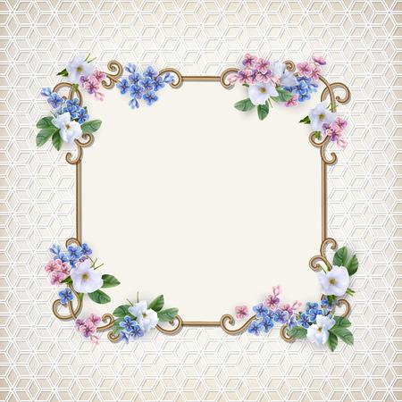 Vintage Decorative Background with flower illustration.