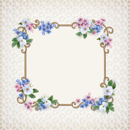 Vintage Decorative Background with flower illustration.