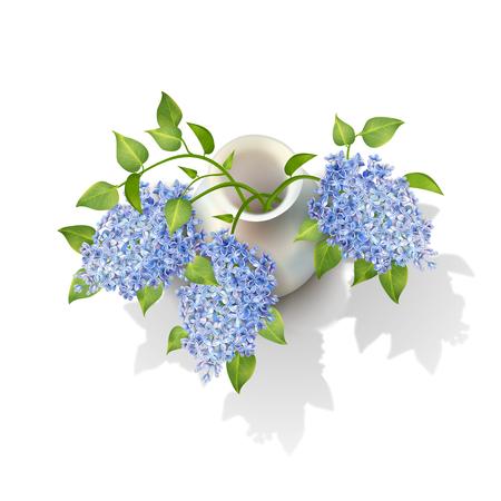 Vector Lilacs in Vase illustration on white background.