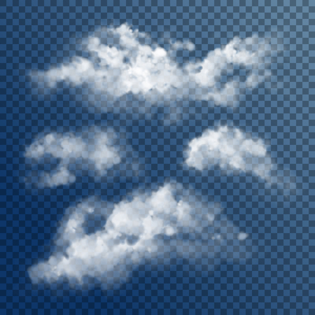 Transparent White Vector Clouds Ilustrace