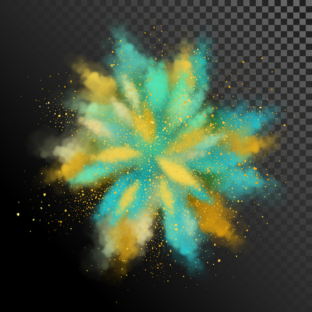 Explosion of colored powder. Vector watercolor design elements