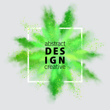 Vector watercolor banner. Abstract background of green powder explosion. Stock Illustratie
