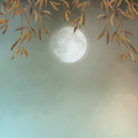 Autumn landscape with full moon and tree branches
