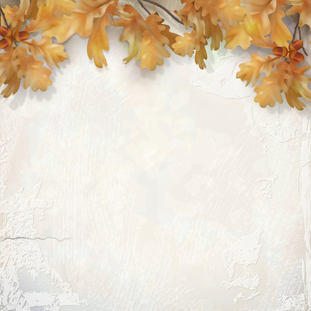 Oak branch with leaves and acorns on decorative plaster wall. Vector autumn illustration