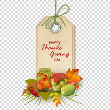 Vector Thanksgiving label with holiday autumn composition with glass jam jars, autumn leaves and flowers